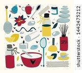 doodle set of spa elements for... | Shutterstock .eps vector #1442475212