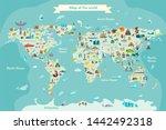 world travel map with landmarks ... | Shutterstock . vector #1442492318