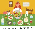 many foods on the lunch table.... | Shutterstock .eps vector #1442493215