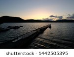 afterglow of mountain lake... | Shutterstock . vector #1442505395