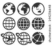 earth vector icons set.... | Shutterstock .eps vector #144256648
