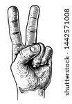 a hand in a peace or v for... | Shutterstock . vector #1442571008