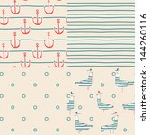 vector set of four nautical... | Shutterstock .eps vector #144260116