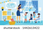 children learning drawing flat... | Shutterstock .eps vector #1442613422
