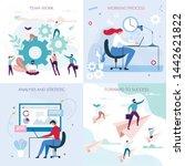 business workflow flat cards... | Shutterstock .eps vector #1442621822