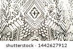 arab pattern. ikat hand drawn...   Shutterstock . vector #1442627912