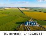 aerial view new grain elevator... | Shutterstock . vector #1442628365