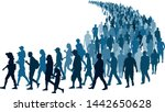 crowd of people waiting in line ... | Shutterstock .eps vector #1442650628