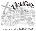 nederland card. coloring page... | Shutterstock .eps vector #1442669642