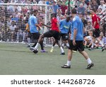 NEW YORK - JUNE 26: Emmerson Boyce, Marco Bellinelli and Oguchi Onyewu attend at The Sixth Steve Nash Foundation Showdown at Sarah D. Roosevelt Park on June 26, 2013 in New York City. - stock photo