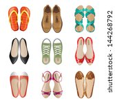 set of 9 woman shoes icons | Shutterstock .eps vector #144268792