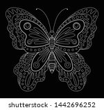 decorative white butterfly on...   Shutterstock . vector #1442696252