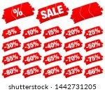 set of red divided brushstrokes ... | Shutterstock .eps vector #1442731205