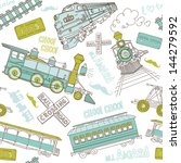seamless pattern vintage trains ... | Shutterstock .eps vector #144279592