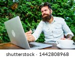 well done. hipster busy with... | Shutterstock . vector #1442808968