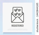 opened envelope with letter... | Shutterstock .eps vector #1442844185