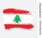flag lebanon from brush strokes....
