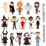 set of children in costumes for ... | Shutterstock .eps vector #1442857778