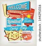 vector background with badges... | Shutterstock .eps vector #144291016