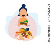 Fat Woman Eating Burger And...