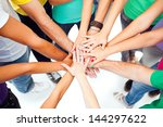 a group of people showing their ... | Shutterstock . vector #144297622