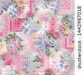 watercolor digital flowers and  ... | Shutterstock . vector #1442987018