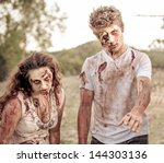 zombies looking at camera with...   Shutterstock . vector #144303136