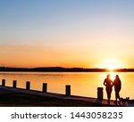 Sunset on Lake Mendota in Madison, Wisconsin with people in foreground