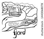 fjord scandinavia. vacation.... | Shutterstock .eps vector #1443068078