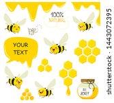 set of bees  honey  lettering ... | Shutterstock .eps vector #1443072395
