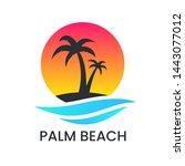 Beach Sunset Logo On White...