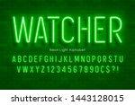 neon light 3d alphabet  extra... | Shutterstock .eps vector #1443128015
