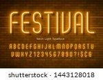neon light 3d alphabet  extra... | Shutterstock .eps vector #1443128018
