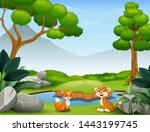 animals cartoon living in the... | Shutterstock . vector #1443199745
