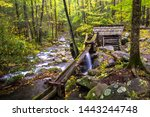Grear Smoky Mountains National Park, Tennessee - Noah Bud Ogle homestead, hollowed-log flume divert water flow to a tub mill, from LeConte Creek