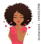 beatiful woman with afro... | Shutterstock .eps vector #1443312908