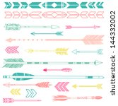 a set of cute hipster arrows ... | Shutterstock .eps vector #144332002
