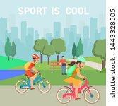 girl and boy sport lover...   Shutterstock .eps vector #1443328505