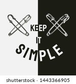 Stock vector keep it simple slogan with vintage safety pin illustration 1443366905