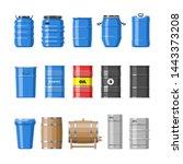 barrel oil barrels with fuel... | Shutterstock . vector #1443373208
