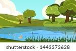cartoon peaceful scenery view... | Shutterstock .eps vector #1443373628