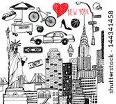 new york set   Shutterstock .eps vector #144341458