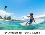 kite surfing  fun in the ocean  ... | Shutterstock . vector #144342256