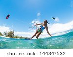 kite boarding  fun in the ocean ... | Shutterstock . vector #144342532