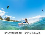 kite surfing  fun in the ocean  ... | Shutterstock . vector #144343126