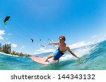 kite surfing  fun in the ocean  ... | Shutterstock . vector #144343132