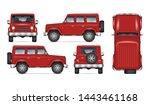 red suv car vector mockup for... | Shutterstock .eps vector #1443461168