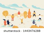 vector autumn illustration with ... | Shutterstock .eps vector #1443476288