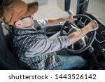 young caucasian semi truck... | Shutterstock . vector #1443526142