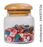 Close Up Of A Jar Of Buttons